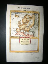 Mallet 1683 Antique Hand Col Map. Europe Ancienne